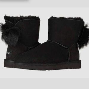 UGG fluff bow mini boots